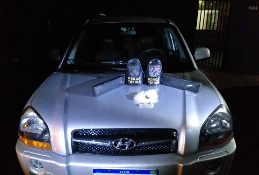 Polícia fez abordagem e apreendeu em MS carro roubado em SP — Foto: Polícia Militar/Divulgação