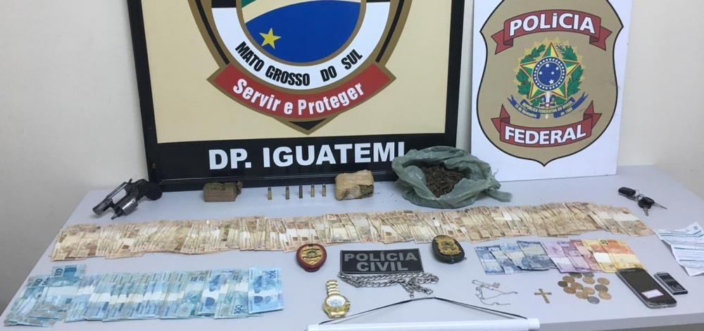 Dinheiro, arma e drogas apreendidos pela polícia em MS — Foto: Polícia Civil/Divulgação