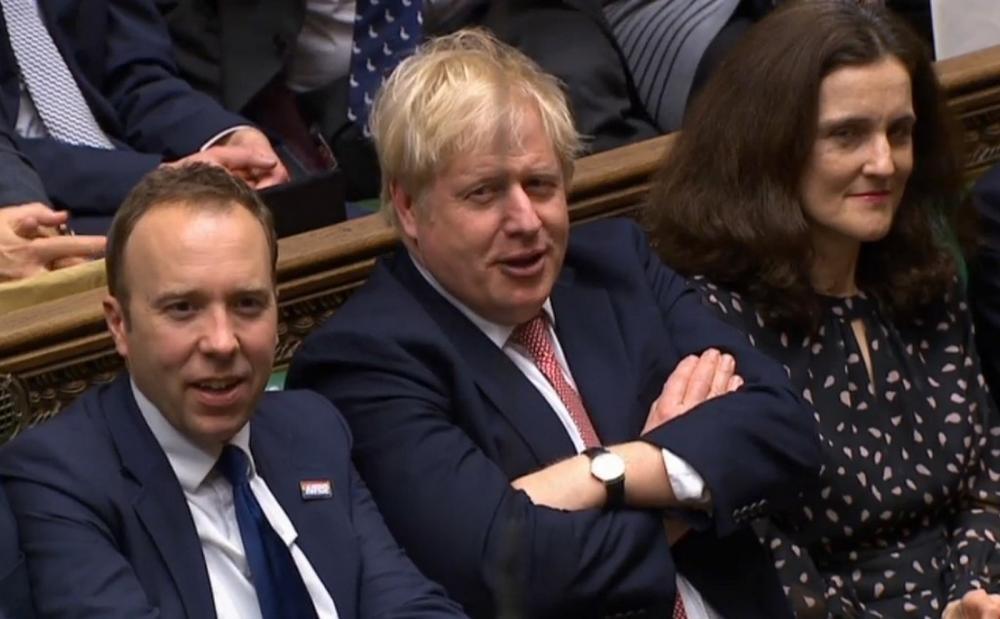 Reação de Boris Johnson depois do resultado da votação do Brexit no Parlamento, em 9 de janeiro de 2020 — Foto: Reprodução de vídeo do Parlamento/ via AFP