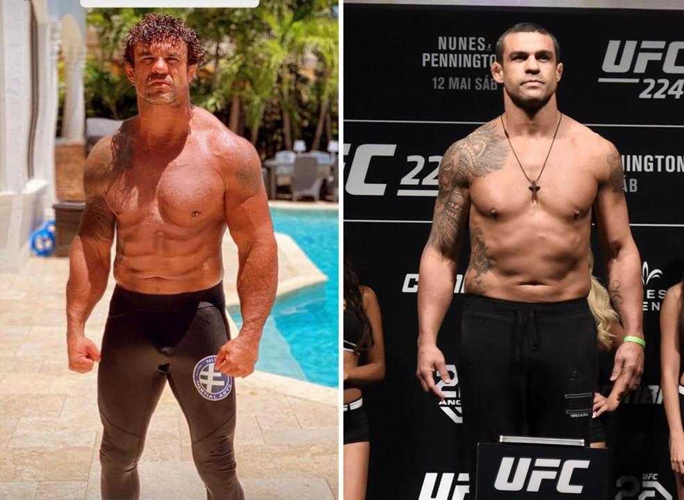 Vitor Belfort em 2020 e 2018: lutador parece mais forte e definido na foto atual — Foto: Reprodução e André Durão